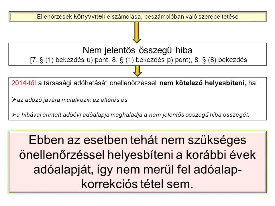 Nem jelentős összegű hiba [7. § (1) bekezdés u) pont, 8. § (1) bekezdés p) pont), 8. § (8) bekezdés 2014-től a társasági adóhatását önellenőrzéssel ne