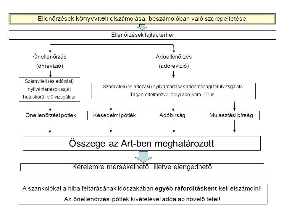 Ellenőrzések fajtái, terhei Önellenőrzés (önrevízió) Adóellenőrzés (adórevízió) Számviteli (és adózási) nyilvántartások saját hatáskörű felülvizsgálat