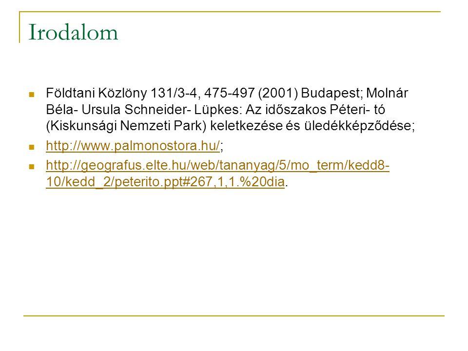 Irodalom Földtani Közlöny 131/3-4, 475-497 (2001) Budapest; Molnár Béla- Ursula Schneider- Lüpkes: Az időszakos Péteri- tó (Kiskunsági Nemzeti Park) keletkezése és üledékképződése; http://www.palmonostora.hu/; http://www.palmonostora.hu/ http://geografus.elte.hu/web/tananyag/5/mo_term/kedd8- 10/kedd_2/peterito.ppt#267,1,1.%20dia.
