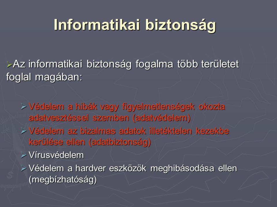 Informatikai biztonság  Az informatikai biztonság fogalma több területet foglal magában:  Védelem a hibák vagy figyelmetlenségek okozta adatvesztéssel szemben (adatvédelem)  Védelem az bizalmas adatok illetéktelen kezekbe kerülése ellen (adatbiztonság)  Vírusvédelem  Védelem a hardver eszközök meghibásodása ellen (megbízhatóság)