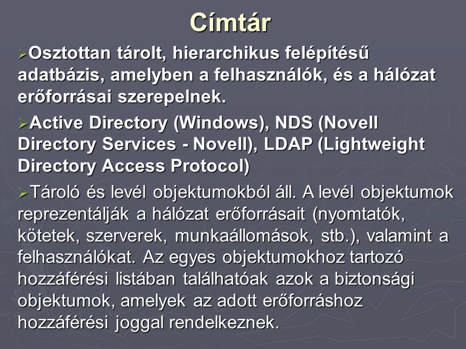 Címtár  Osztottan tárolt, hierarchikus felépítésű adatbázis, amelyben a felhasználók, és a hálózat erőforrásai szerepelnek.  Active Directory (Windo