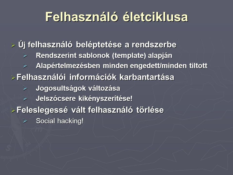 Felhasználó életciklusa  Új f elhasználó beléptetése a rendszerbe  Rendszerint sablonok (template) alapján  Alapértelmezésben minden engedett/minden tiltott  Felhasználói információk karbantartása  Jogosultságok változása  Jelszócsere kikényszerítése.
