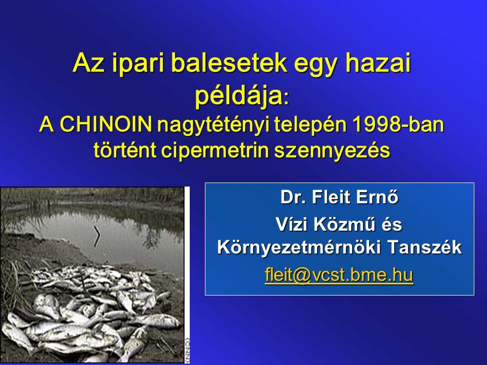 Az ipari balesetek egy hazai példája : A CHINOIN nagytétényi telepén 1998-ban történt cipermetrin szennyezés Dr. Fleit Ernő Vízi Közmű és Környezetmér