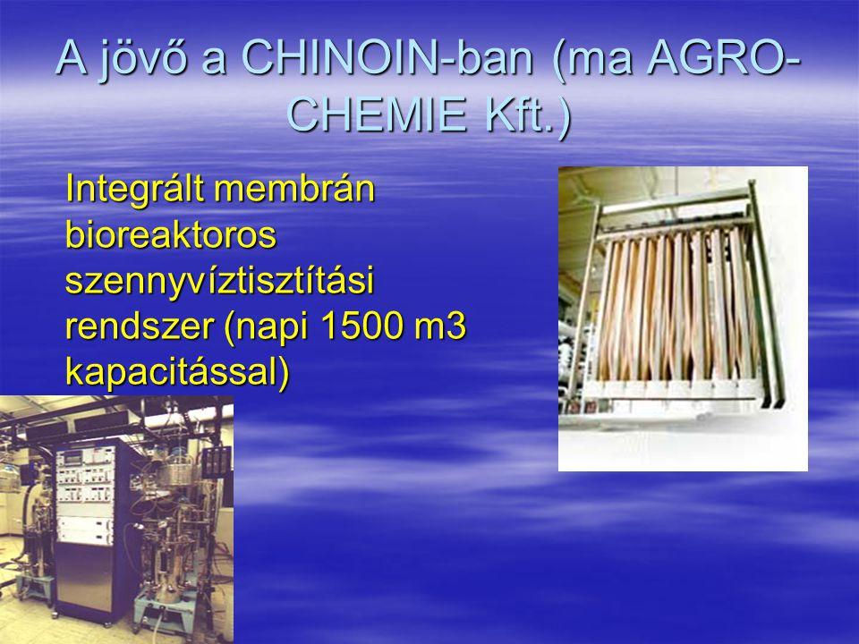 A jövő a CHINOIN-ban (ma AGRO- CHEMIE Kft.) Integrált membrán bioreaktoros szennyvíztisztítási rendszer (napi 1500 m3 kapacitással) Integrált membrán
