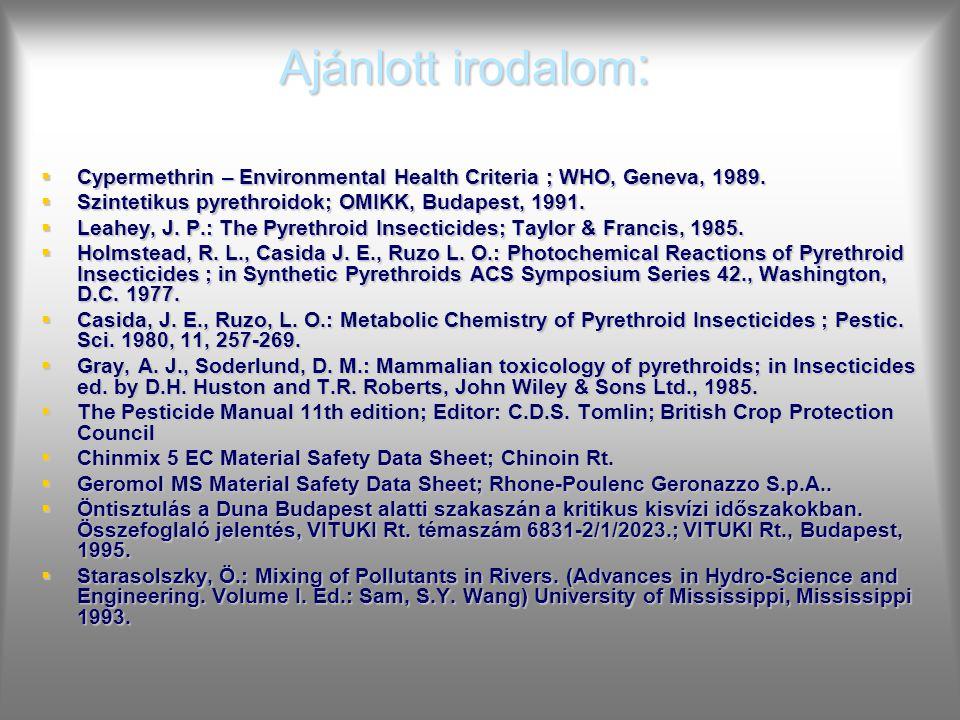Ajánlott irodalom :  Cypermethrin – Environmental Health Criteria ; WHO, Geneva, 1989.  Szintetikus pyrethroidok; OMIKK, Budapest, 1991.  Leahey, J