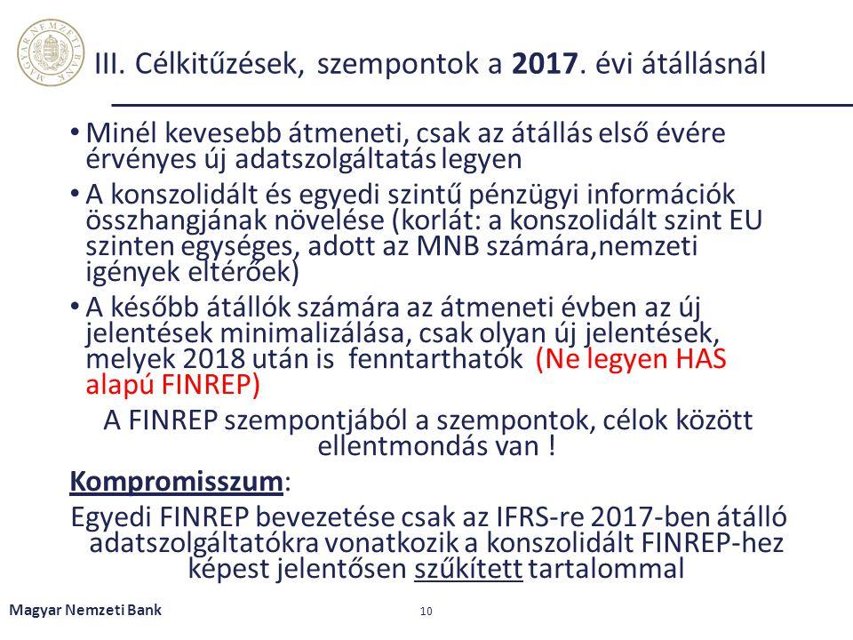 Magyar Nemzeti Bank 10 III. Célkitűzések, szempontok a 2017. évi átállásnál Minél kevesebb átmeneti, csak az átállás első évére érvényes új adatszolgá
