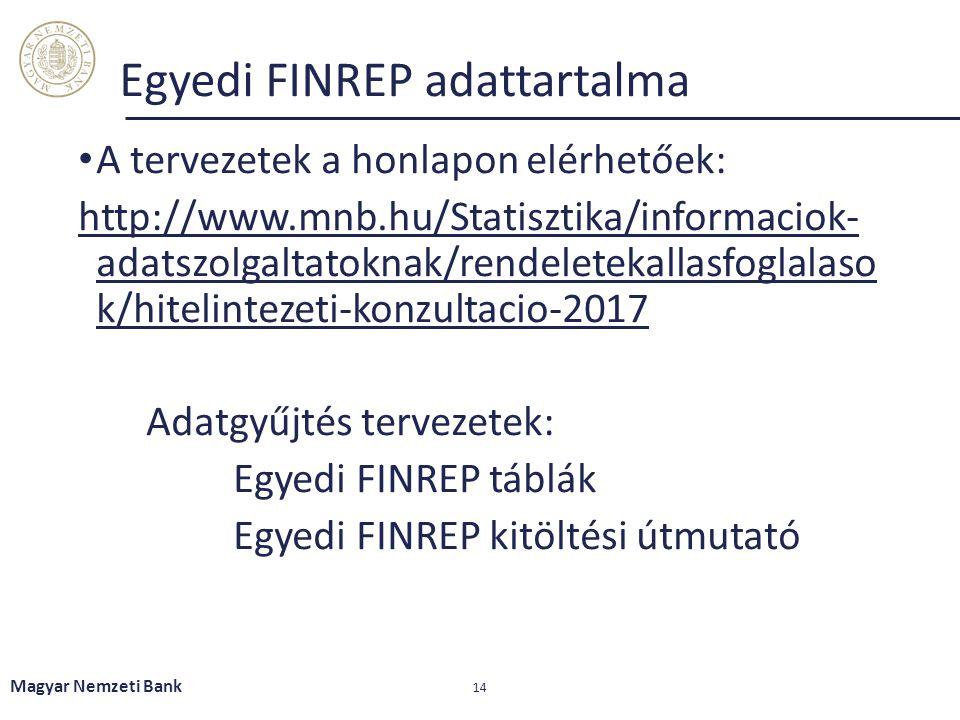 Magyar Nemzeti Bank 14 Egyedi FINREP adattartalma A tervezetek a honlapon elérhetőek: http://www.mnb.hu/Statisztika/informaciok- adatszolgaltatoknak/r