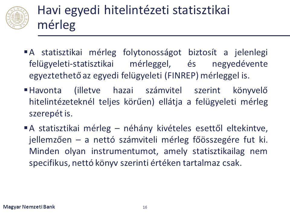 Havi egyedi hitelintézeti statisztikai mérleg  A statisztikai mérleg folytonosságot biztosít a jelenlegi felügyeleti-statisztikai mérleggel, és negye