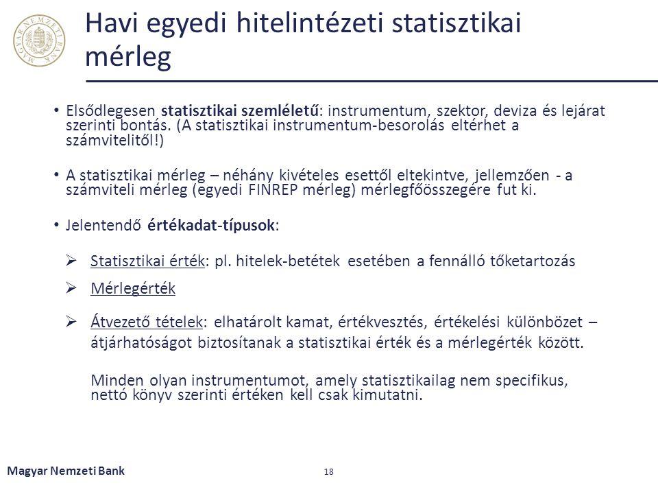 Havi egyedi hitelintézeti statisztikai mérleg Elsődlegesen statisztikai szemléletű: instrumentum, szektor, deviza és lejárat szerinti bontás. (A stati