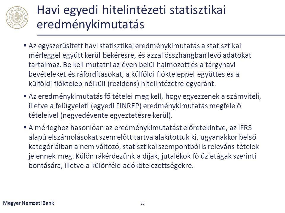 Havi egyedi hitelintézeti statisztikai eredménykimutatás  Az egyszerűsített havi statisztikai eredménykimutatás a statisztikai mérleggel együtt kerül
