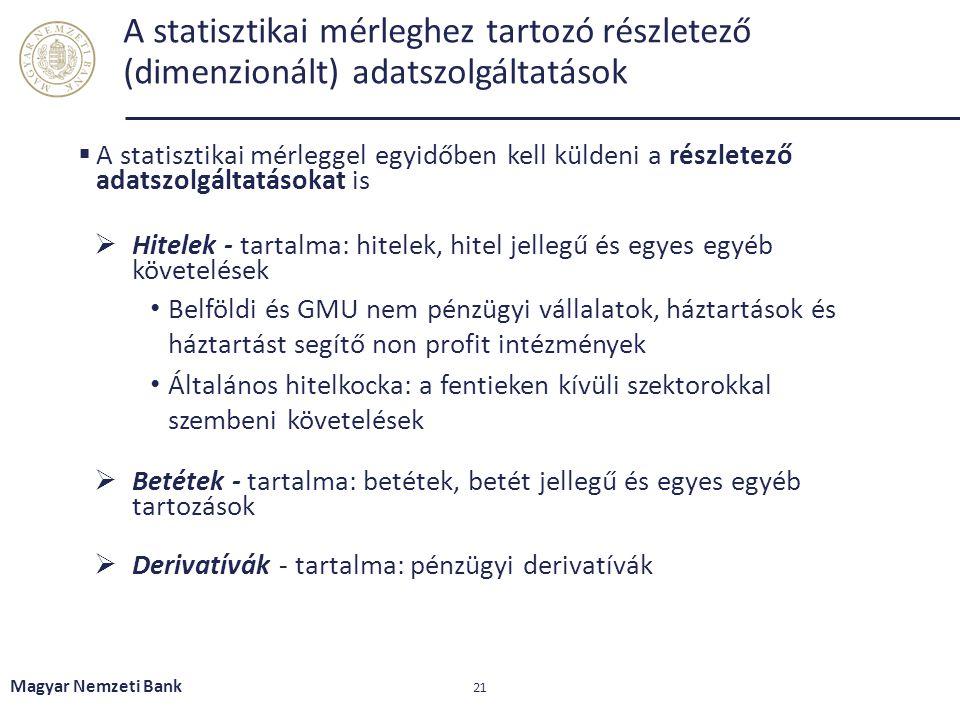 A statisztikai mérleghez tartozó részletező (dimenzionált) adatszolgáltatások  A statisztikai mérleggel egyidőben kell küldeni a részletező adatszolg