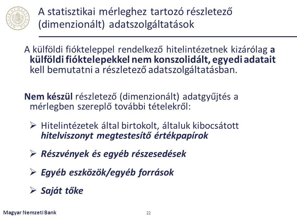 A statisztikai mérleghez tartozó részletező (dimenzionált) adatszolgáltatások A külföldi fiókteleppel rendelkező hitelintézetnek kizárólag a külföldi