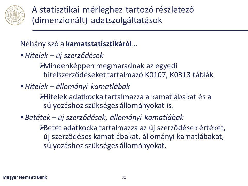 A statisztikai mérleghez tartozó részletező (dimenzionált) adatszolgáltatások Néhány szó a kamatstatisztikáról…  Hitelek – új szerződések  Mindenkép