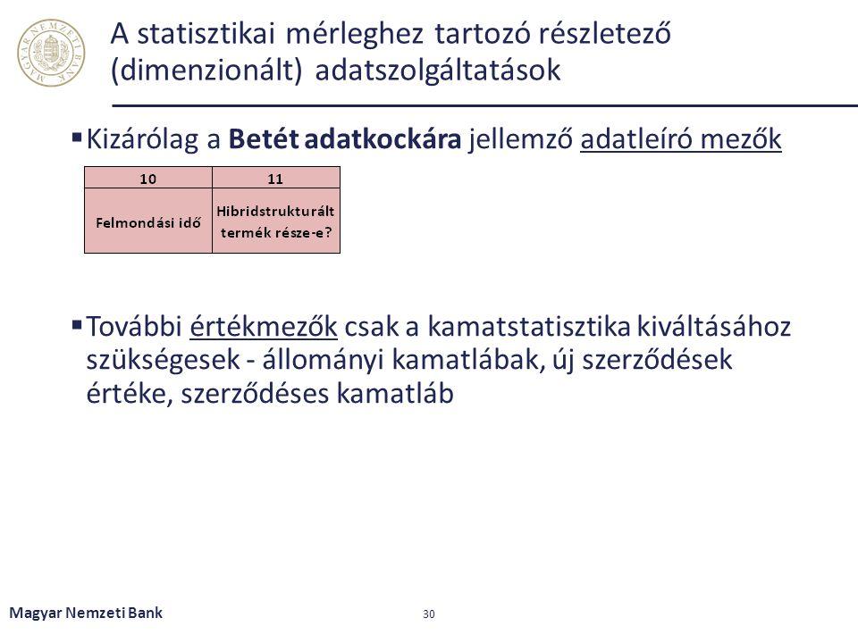 A statisztikai mérleghez tartozó részletező (dimenzionált) adatszolgáltatások  Kizárólag a Betét adatkockára jellemző adatleíró mezők  További érték