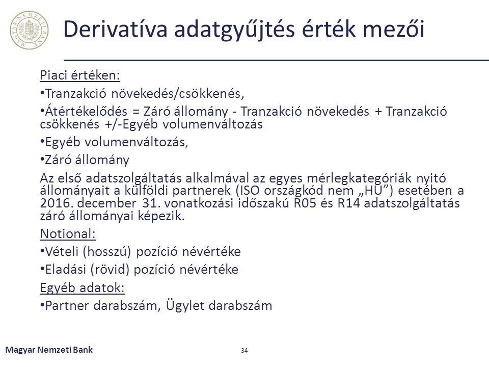 Derivatíva adatgyűjtés érték mezői Piaci értéken: Tranzakció növekedés/csökkenés, Átértékelődés = Záró állomány - Tranzakció növekedés + Tranzakció cs