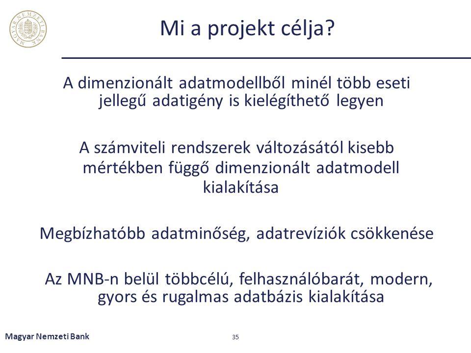 Mi a projekt célja? A dimenzionált adatmodellből minél több eseti jellegű adatigény is kielégíthető legyen A számviteli rendszerek változásától kisebb