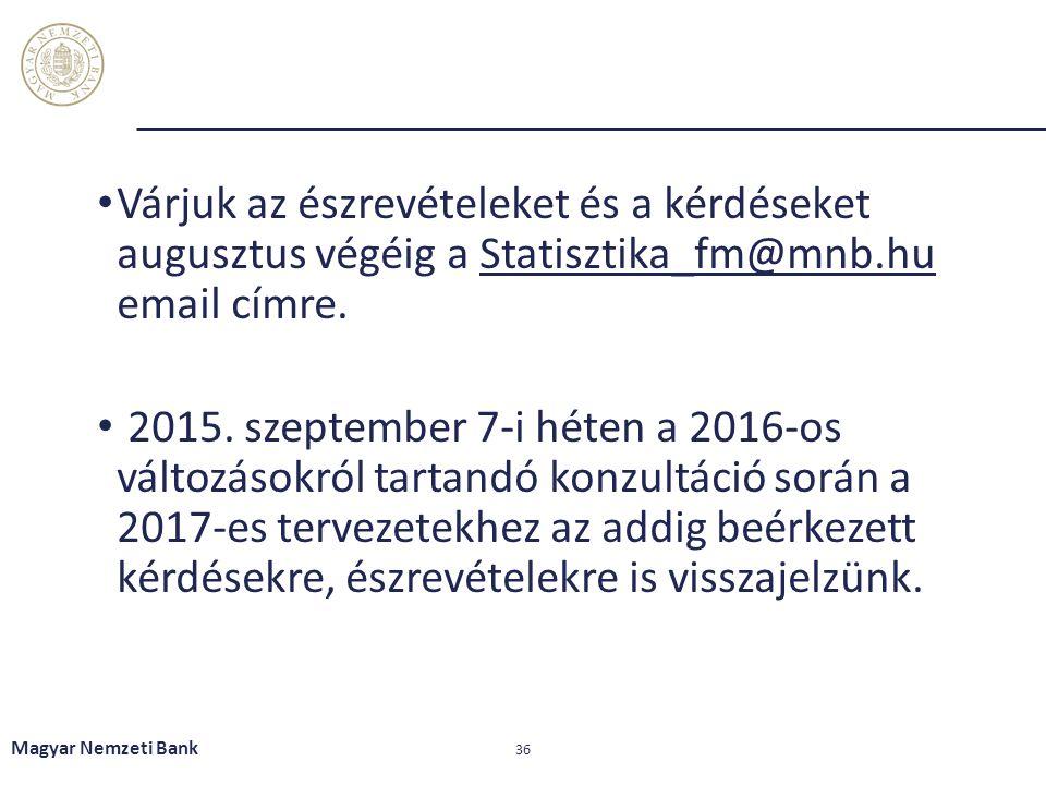 Várjuk az észrevételeket és a kérdéseket augusztus végéig a Statisztika_fm@mnb.hu email címre.tatisztika_fm@mnb.hu 2015. szeptember 7-i héten a 2016-o
