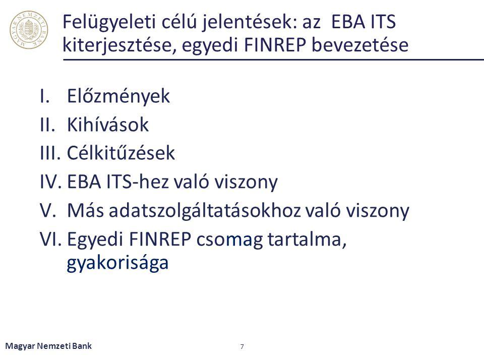 Felügyeleti célú jelentések: az EBA ITS kiterjesztése, egyedi FINREP bevezetése I.Előzmények II.Kihívások III.Célkitűzések IV.EBA ITS-hez való viszony