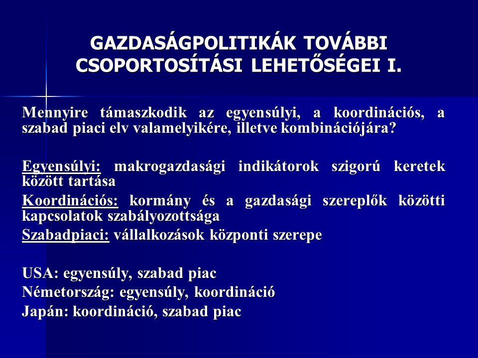 GAZDASÁGPOLITIKÁK TOVÁBBI CSOPORTOSÍTÁSI LEHETŐSÉGEI I.