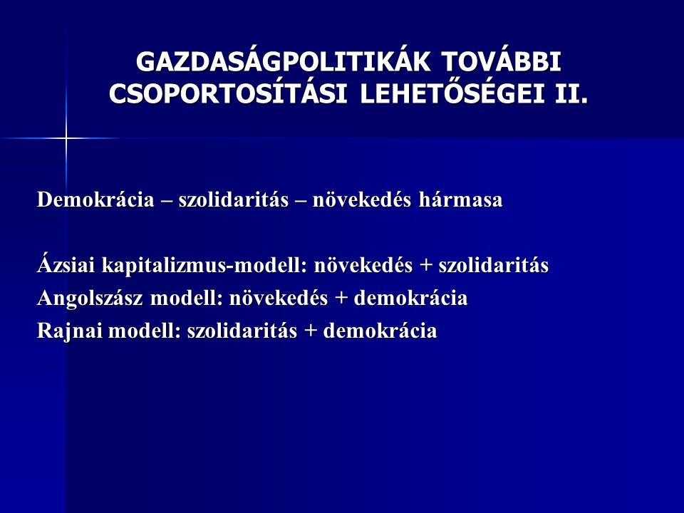 GAZDASÁGPOLITIKÁK TOVÁBBI CSOPORTOSÍTÁSI LEHETŐSÉGEI II.