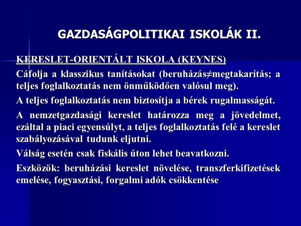 GAZDASÁGPOLITIKAI ISKOLÁK II. KERESLET-ORIENTÁLT ISKOLA (KEYNES) Cáfolja a klasszikus tanításokat (beruházás≠megtakarítás; a teljes foglalkoztatás nem