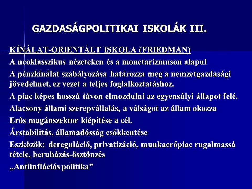 GAZDASÁGPOLITIKAI ISKOLÁK III. KÍNÁLAT-ORIENTÁLT ISKOLA (FRIEDMAN) A neoklasszikus nézeteken és a monetarizmuson alapul A pénzkínálat szabályozása hat