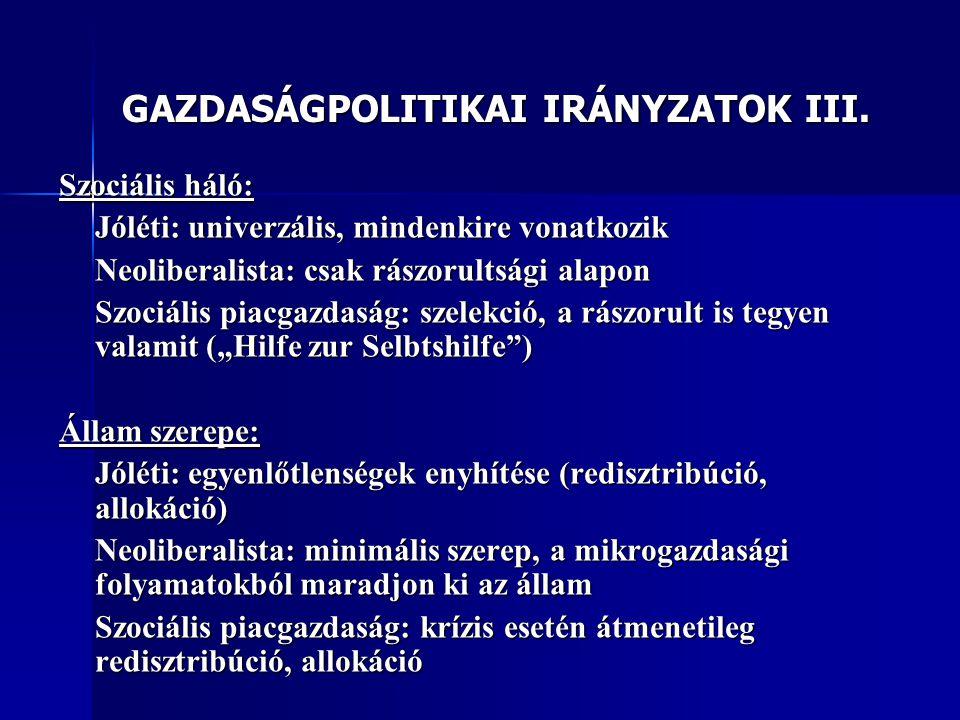 GAZDASÁGPOLITIKAI IRÁNYZATOK III.