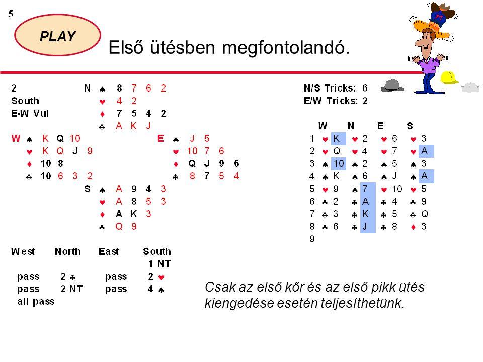16 PLAY Első ütésben megfontolandó.Az indítókijátszás fedése gyakran extra ütést eredményez.