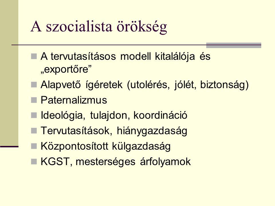 """A szocialista örökség A tervutasításos modell kitalálója és """"exportőre Alapvető ígéretek (utolérés, jólét, biztonság) Paternalizmus Ideológia, tulajdon, koordináció Tervutasítások, hiánygazdaság Központosított külgazdaság KGST, mesterséges árfolyamok"""