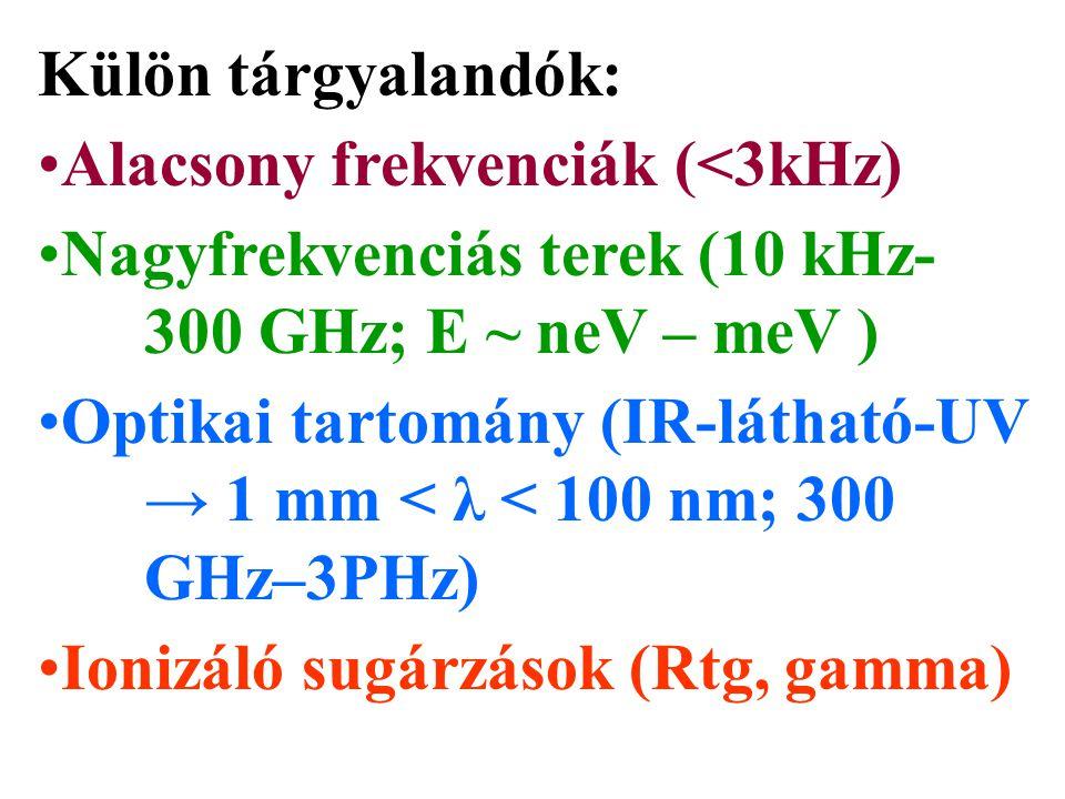 Külön tárgyalandók: Alacsony frekvenciák (<3kHz) Nagyfrekvenciás terek (10 kHz- 300 GHz; E ~ neV – meV ) Optikai tartomány (IR-látható-UV → 1 mm < λ <