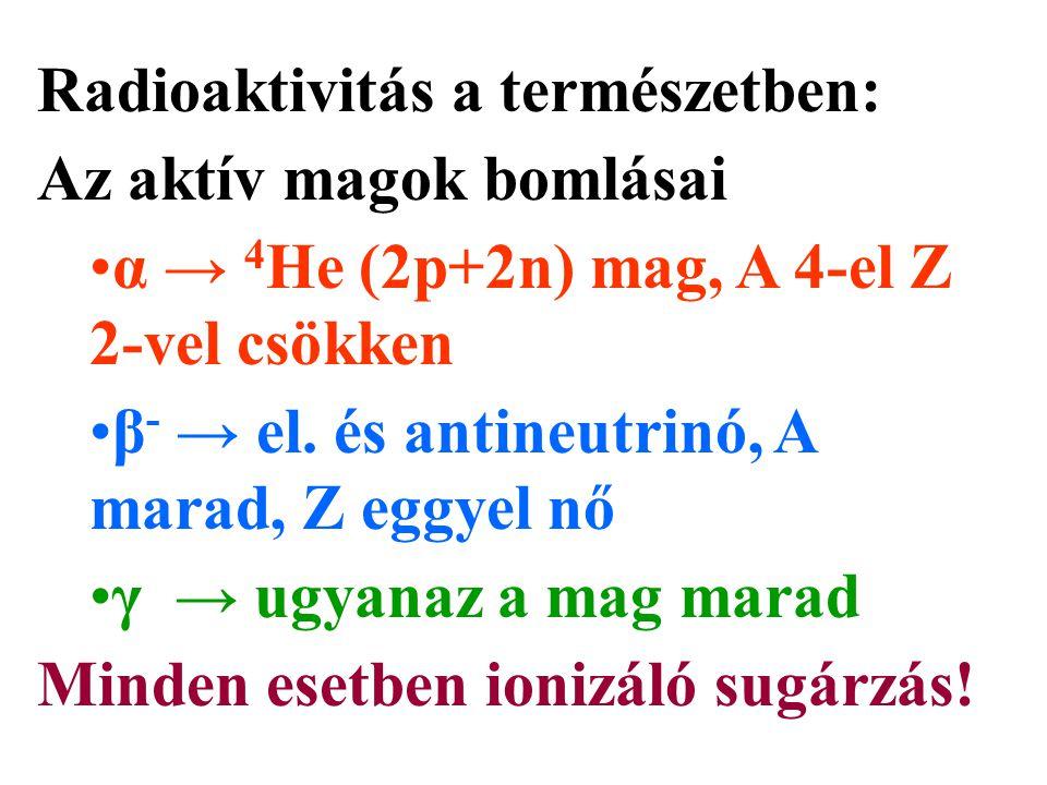 Radioaktivitás a természetben: Az aktív magok bomlásai α → 4 He (2p+2n) mag, A 4-el Z 2-vel csökken β - → el. és antineutrinó, A marad, Z eggyel nő γ