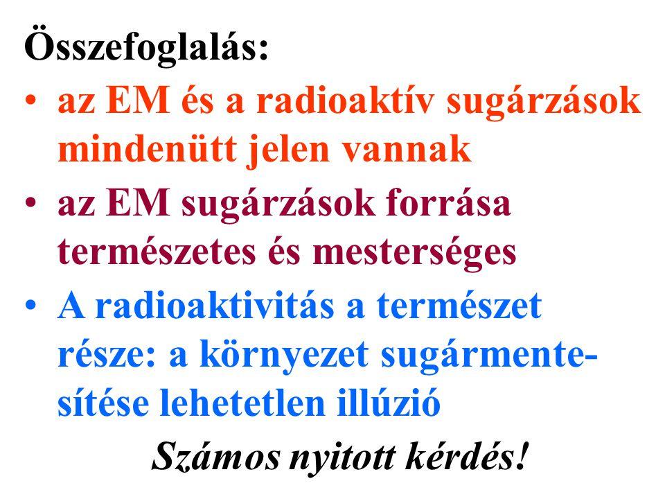 Összefoglalás: az EM és a radioaktív sugárzások mindenütt jelen vannak az EM sugárzások forrása természetes és mesterséges A radioaktivitás a természe