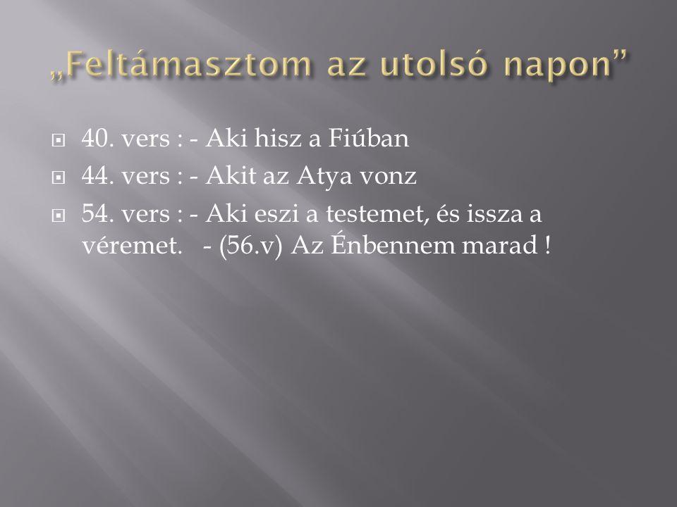  40. vers : - Aki hisz a Fiúban  44. vers : - Akit az Atya vonz  54. vers : - Aki eszi a testemet, és issza a véremet. - (56.v) Az Énbennem marad !