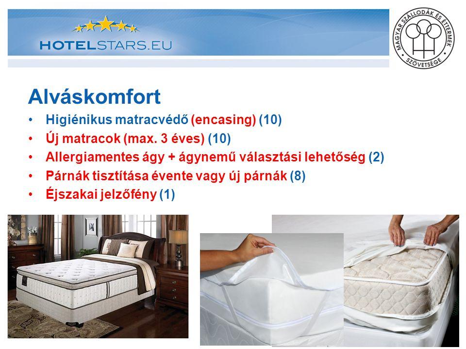 Alváskomfort Higiénikus matracvédő (encasing) (10) Új matracok (max. 3 éves) (10) Allergiamentes ágy + ágynemű választási lehetőség (2) Párnák tisztít