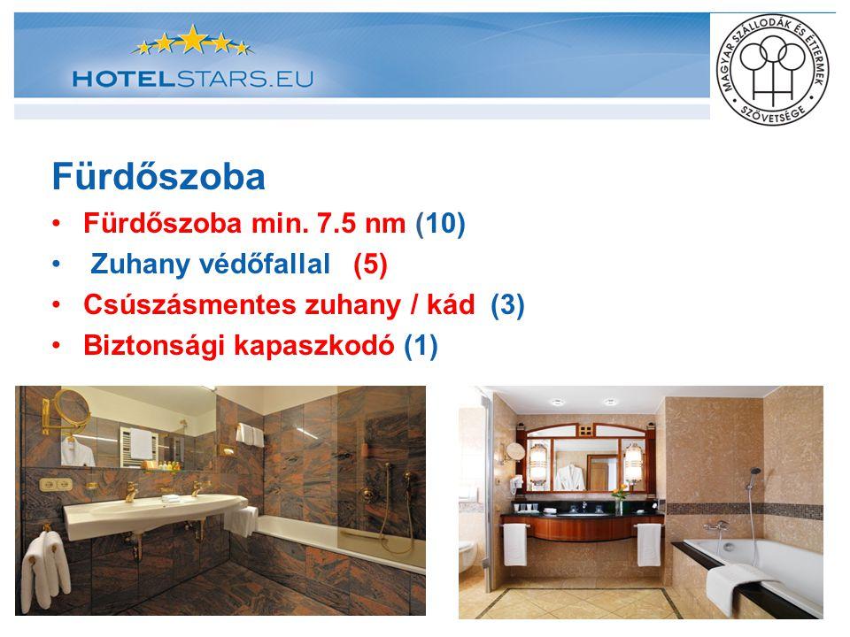 Fürdőszoba Fürdőszoba min. 7.5 nm (10) Zuhany védőfallal (5) Csúszásmentes zuhany / kád (3) Biztonsági kapaszkodó (1)