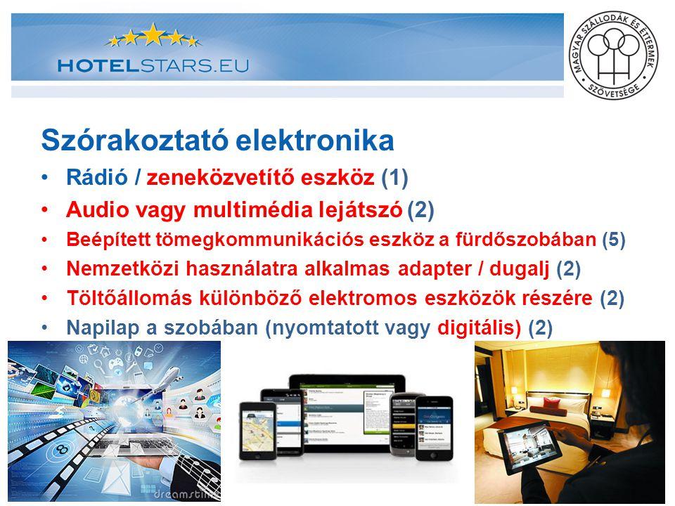 Szórakoztató elektronika Rádió / zeneközvetítő eszköz (1) Audio vagy multimédia lejátszó (2) Beépített tömegkommunikációs eszköz a fürdőszobában (5) N