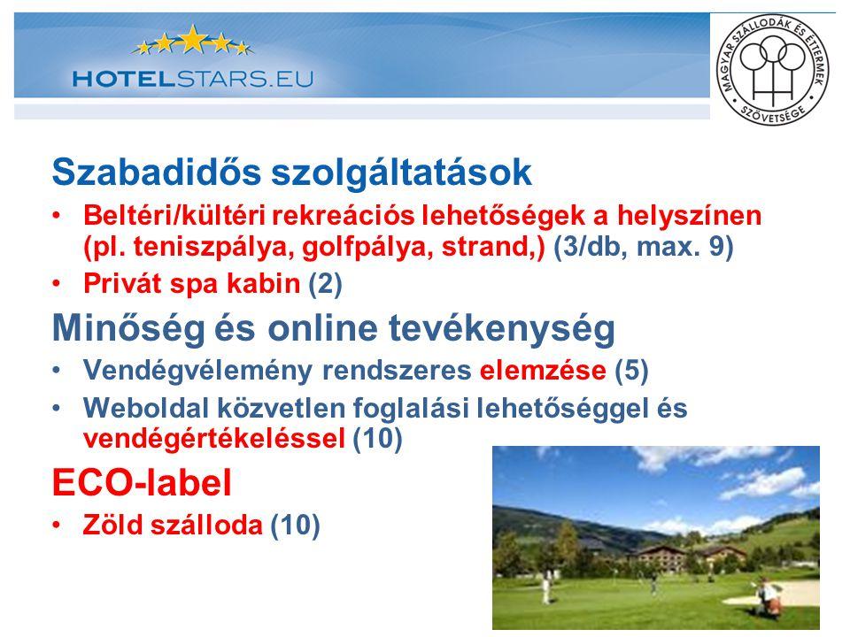 Szabadidős szolgáltatások Beltéri/kültéri rekreációs lehetőségek a helyszínen (pl. teniszpálya, golfpálya, strand,) (3/db, max. 9) Privát spa kabin (2