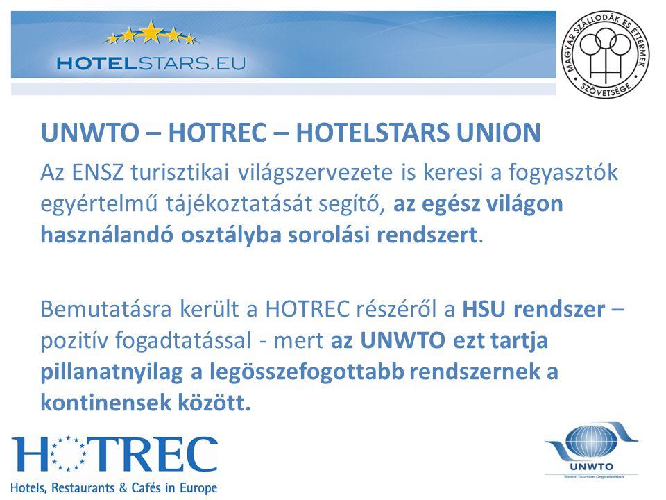 UNWTO – HOTREC – HOTELSTARS UNION Az ENSZ turisztikai világszervezete is keresi a fogyasztók egyértelmű tájékoztatását segítő, az egész világon haszná