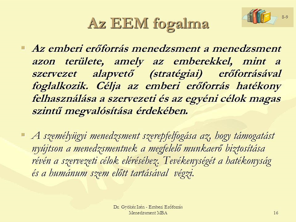Dr. Gyökér Irén - Emberi Erőforrás Menedzsment MBA16 Az EEM fogalma  Az emberi erőforrás menedzsment a menedzsment azon területe, amely az emberekkel