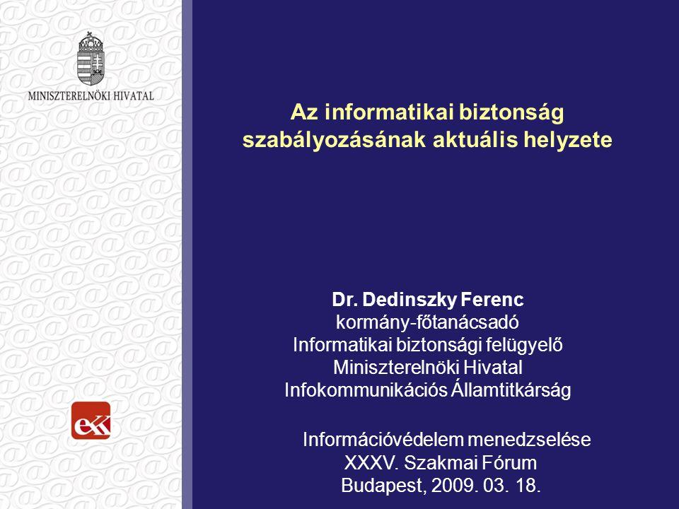 Az informatikai biztonság szabályozásának aktuális helyzete Dr.