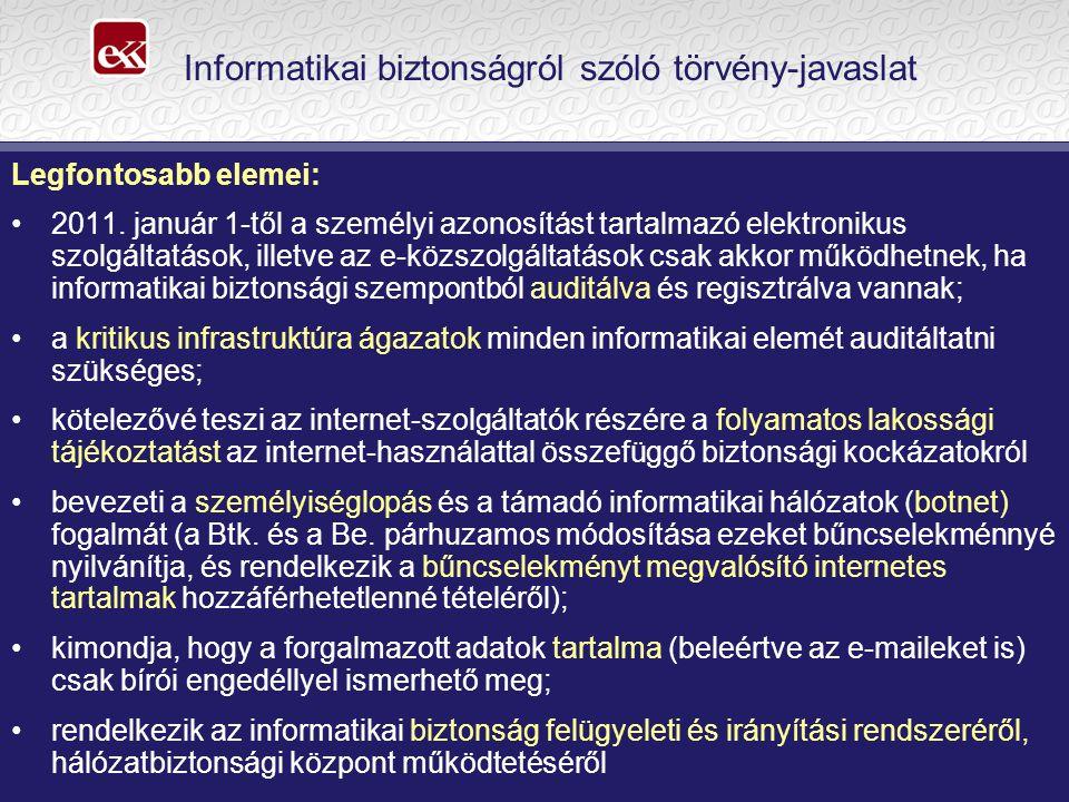 Informatikai biztonságról szóló törvény-javaslat Legfontosabb elemei: 2011.
