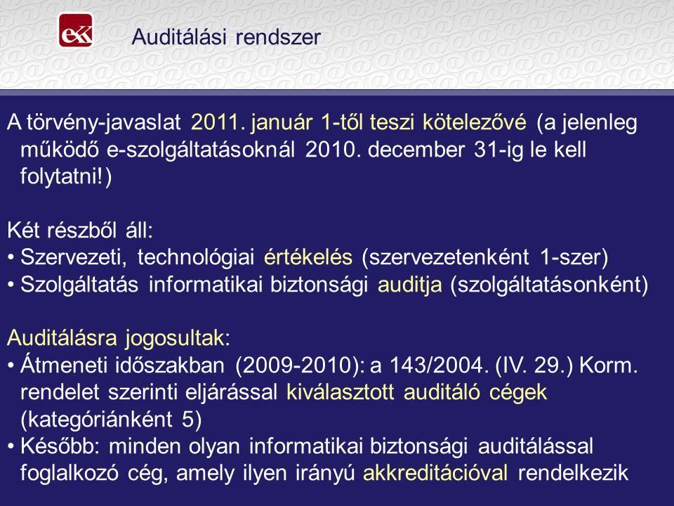 Auditálási rendszer A törvény-javaslat 2011.