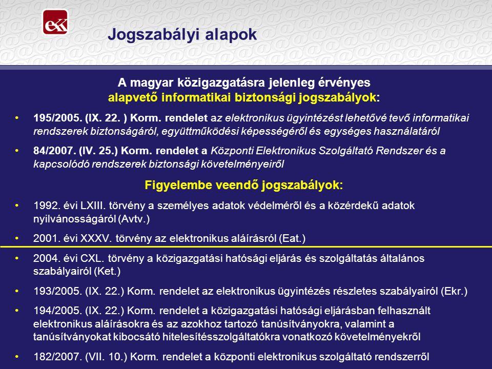 Jogszabályi alapok A magyar közigazgatásra jelenleg érvényes alapvető informatikai biztonsági jogszabályok: 195/2005.