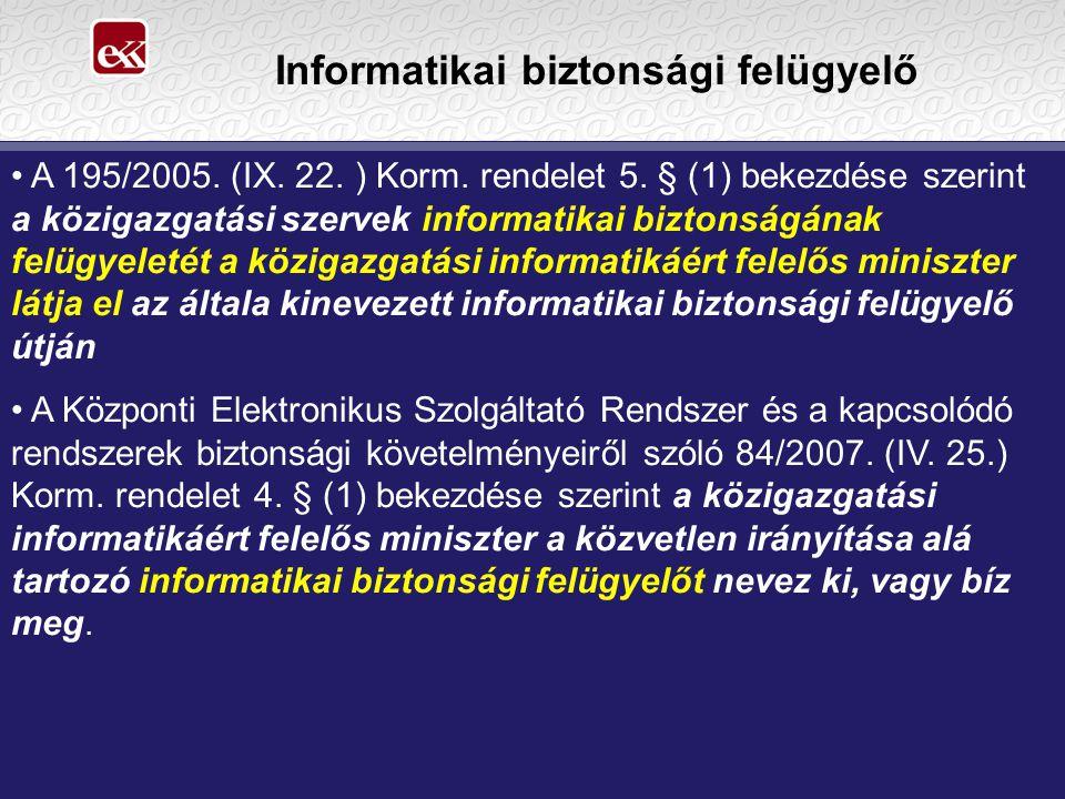Informatikai biztonsági felügyelő A 195/2005. (IX.