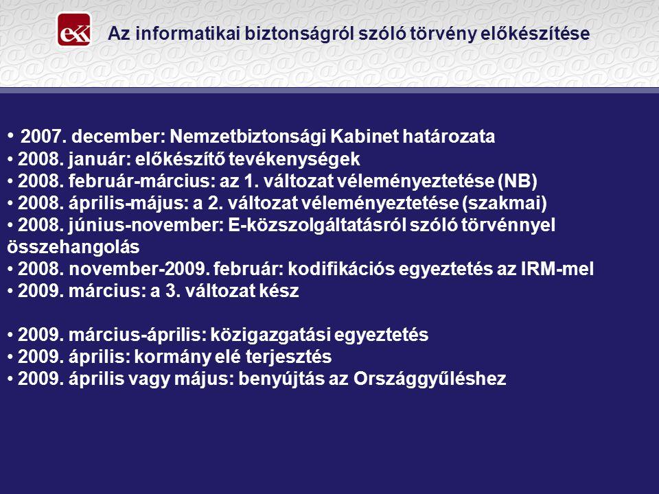 Az informatikai biztonságról szóló törvény előkészítése 2007.