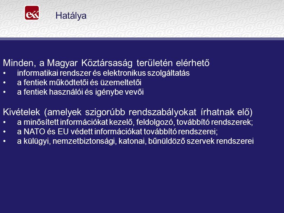 Hatálya Minden, a Magyar Köztársaság területén elérhető informatikai rendszer és elektronikus szolgáltatás a fentiek működtetői és üzemeltetői a fentiek használói és igénybe vevői Kivételek (amelyek szigorúbb rendszabályokat írhatnak elő) a minősített információkat kezelő, feldolgozó, továbbító rendszerek; a NATO és EU védett információkat továbbító rendszerei; a külügyi, nemzetbiztonsági, katonai, bűnüldöző szervek rendszerei