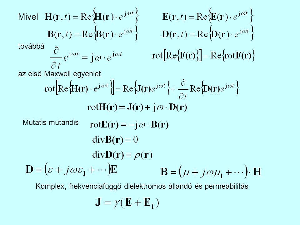 Ha egy adott t = t 0 időpillanatban ismerjük a tér egy tetszés szerinti felülettel lezárt részének minden pontjában a villamos és a mágneses térerősséget (kezdeti feltételek), valamint a teret határoló felület minden pontjában ismerjük VAGY E VAGY H tangenciális komponensét a t 0 időpillanattól egészen a kérdéses t időpillanatig (határfeltételek), akkor a térrészt határoló felületen belül az elektromágneses tér a Maxwell egyenletekből egyértelműen meghatározható.