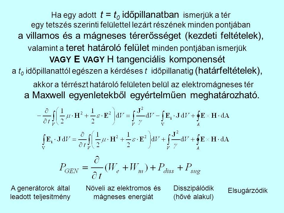 Ha egy adott t = t 0 időpillanatban ismerjük a tér egy tetszés szerinti felülettel lezárt részének minden pontjában a villamos és a mágneses térerőssé