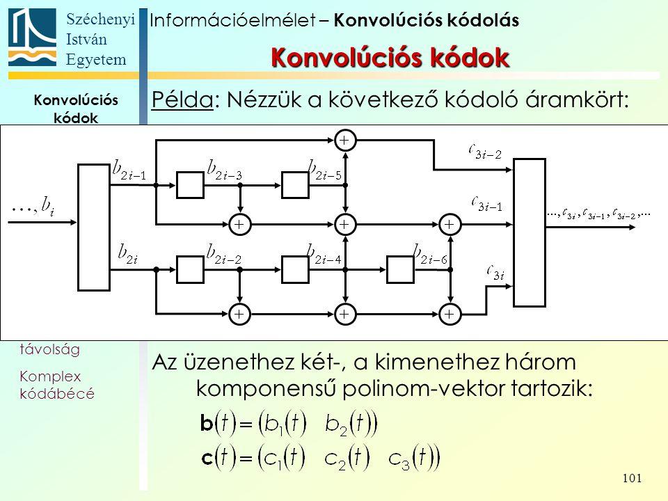 Széchenyi István Egyetem 101 Konvolúciós kódok Alapfogalmak Állapotát- meneti gráf Trellis Polinom- reprezentáció Katasztrofális kódoló Szabad távolság Komplex kódábécé Példa: Nézzük a következő kódoló áramkört: Az üzenethez két-, a kimenethez három komponensű polinom-vektor tartozik: Konvolúciós kódok Információelmélet – Konvolúciós kódolás