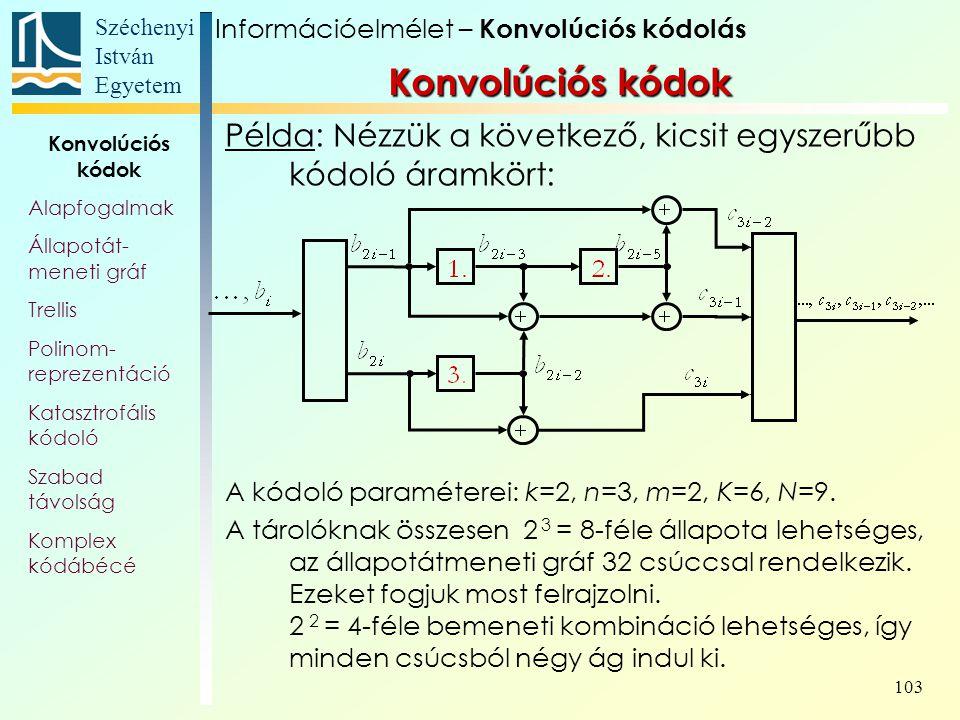 Széchenyi István Egyetem 103 Példa: Nézzük a következő, kicsit egyszerűbb kódoló áramkört: A kódoló paraméterei: k=2, n=3, m=2, K=6, N=9.